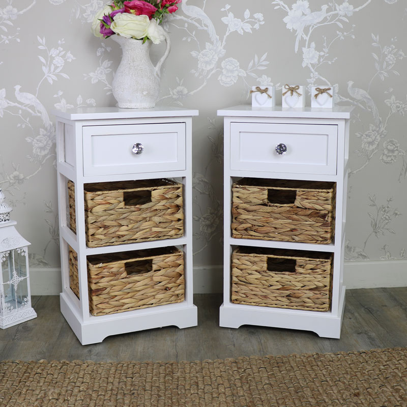 pair of white wood wicker 3 drawer basket storage units salford crystal white range melody. Black Bedroom Furniture Sets. Home Design Ideas