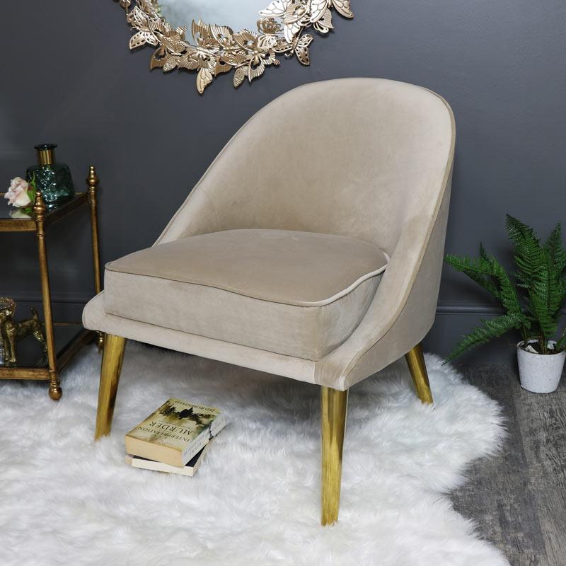 Pale Cream Velvet Upholstered Occasional Chair