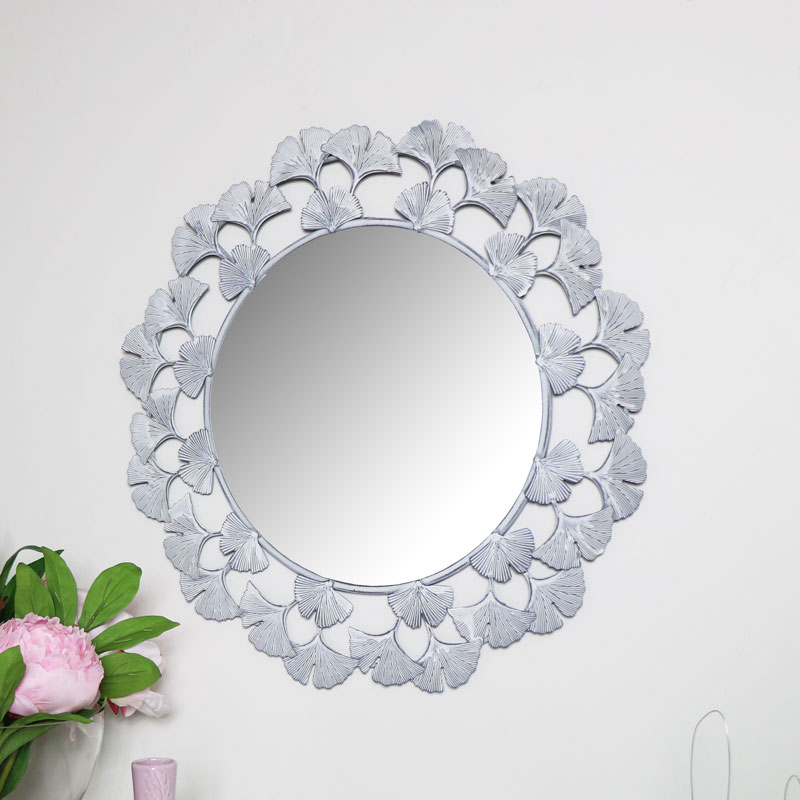 Pale Grey Floral Wall Mirror 47cm x 47cm