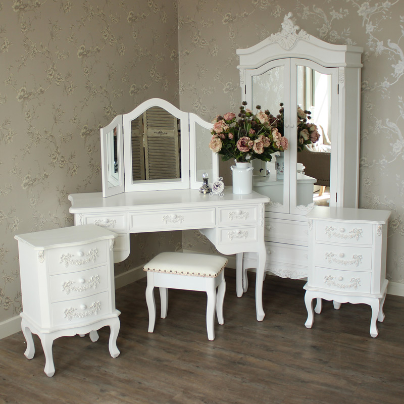Furniture bundle antique white closet dressing table for Dining table dressing