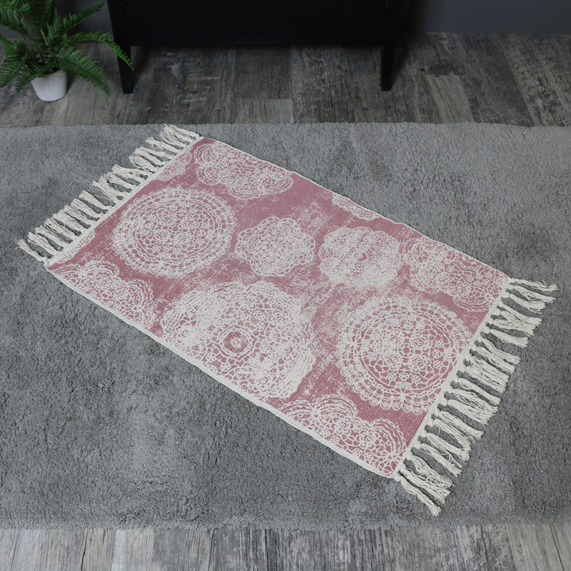 Pink and Cream Mandala Patterned Tassel Floor Rug 2x3