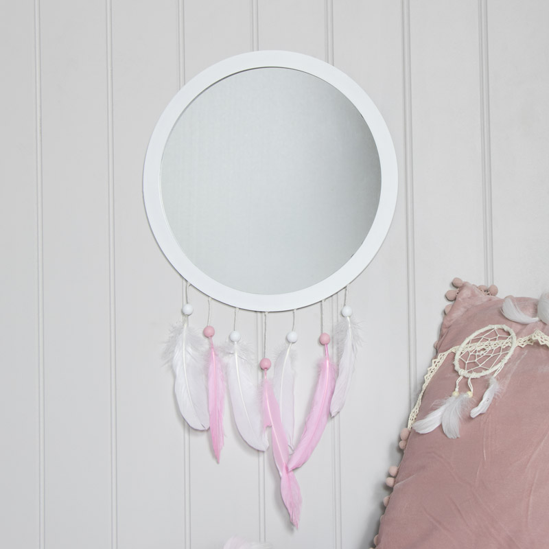 Pink Feather Dreamcatcher Wall Mirror