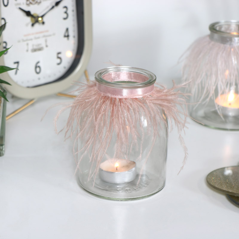 Pink Feathered Glass Tealight Holder