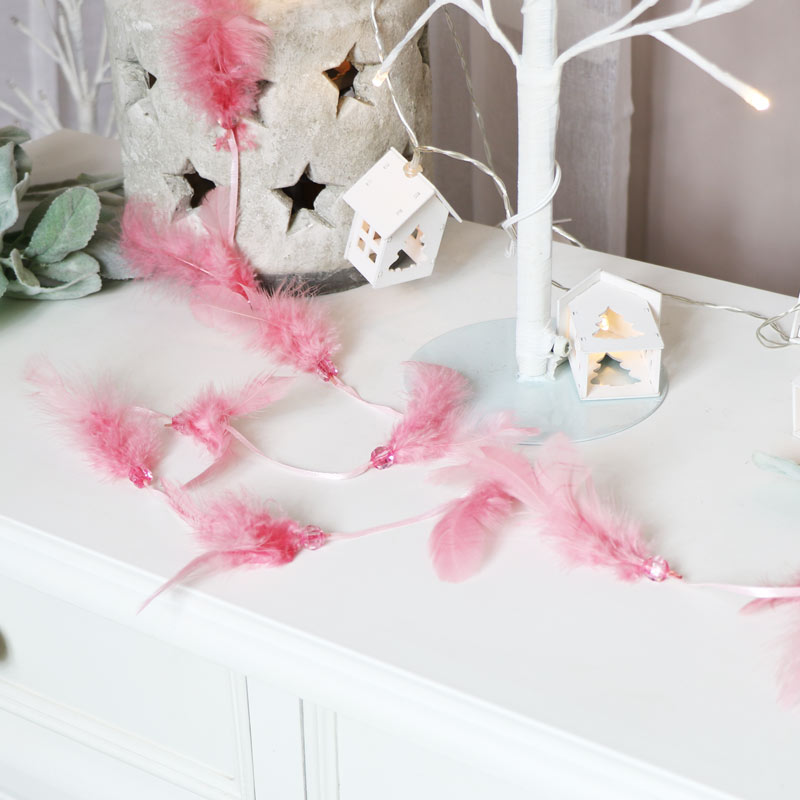 Pink Feathered Jewelled Garland