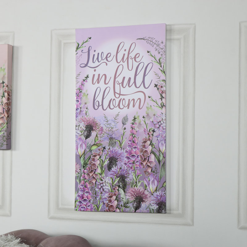 Pink Floral Wall Mounted Canvas Print
