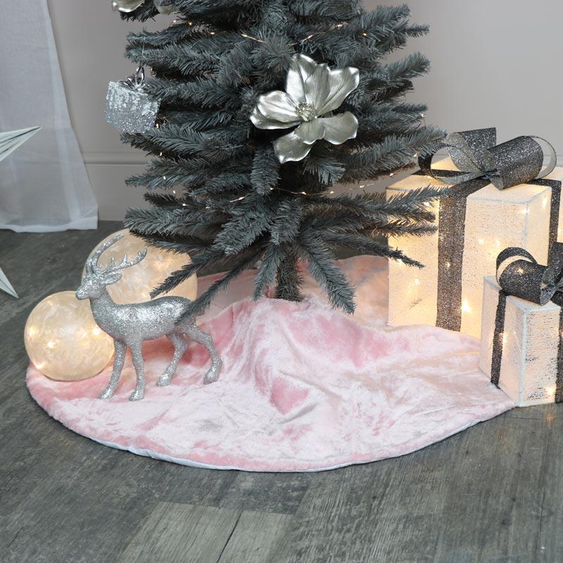 Pink Fur Christmas Tree Skirt