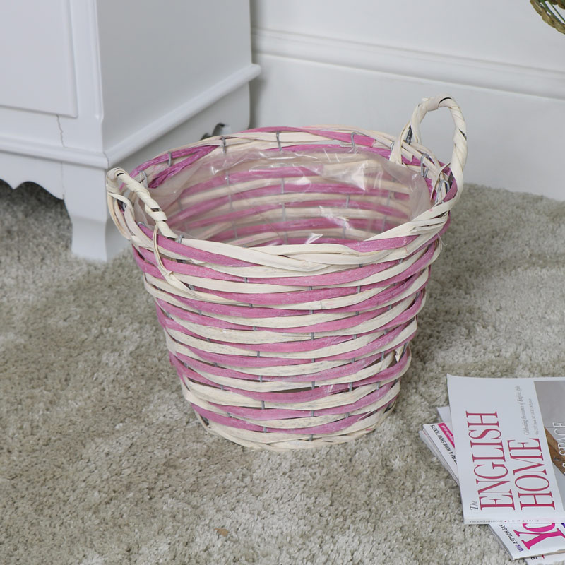 Pink & Natural Wicker Woven Waste Paper Bin