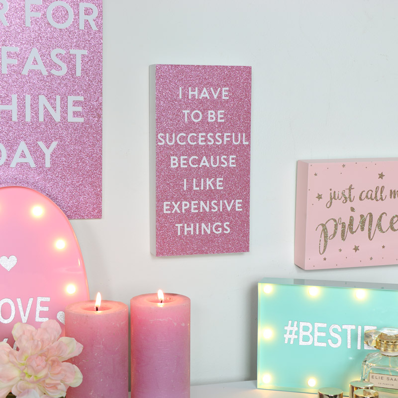 Pink Sparkle Successful Wooden Wall Mountable Box Quote