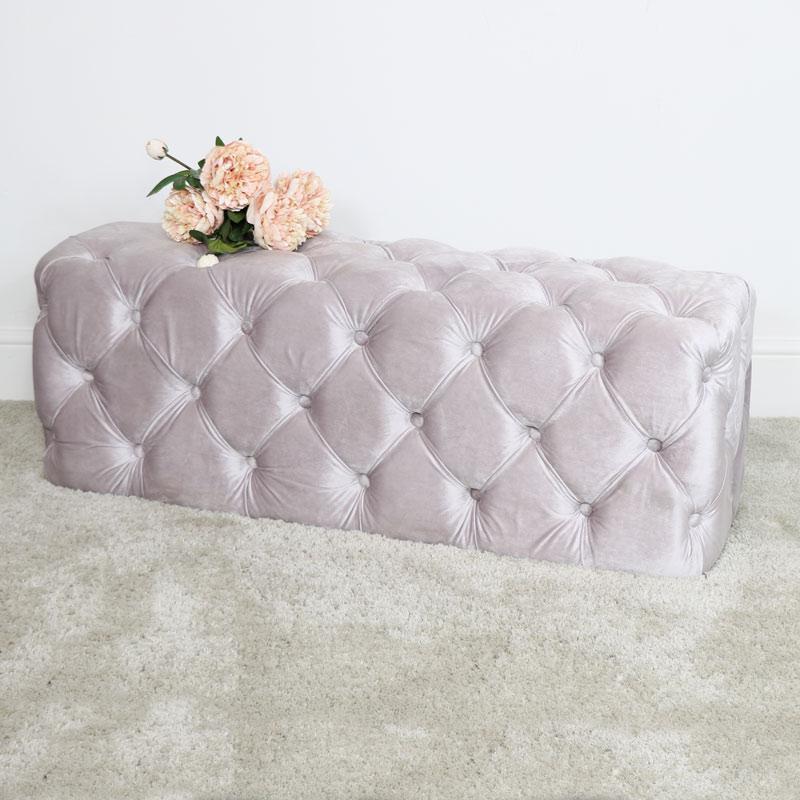 Pink Velvet Buttoned Bench