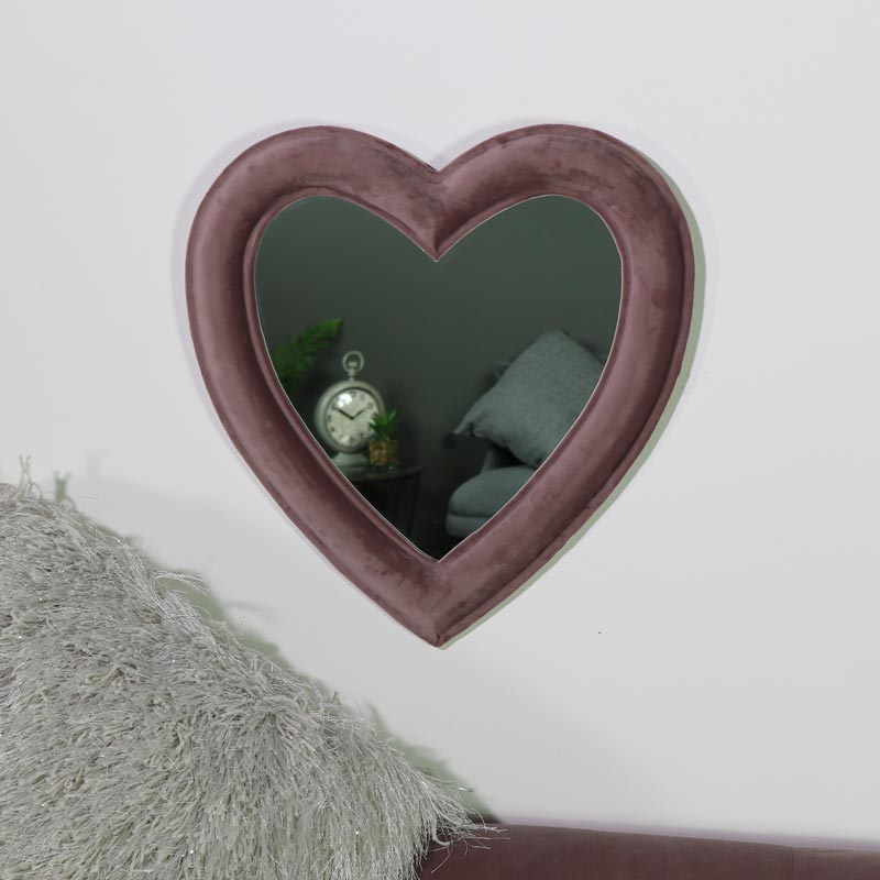 Pink Velvet Framed Heart Wall Mirror