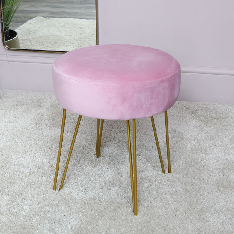 Pink Velvet Stool with Gold Hairpin Legs