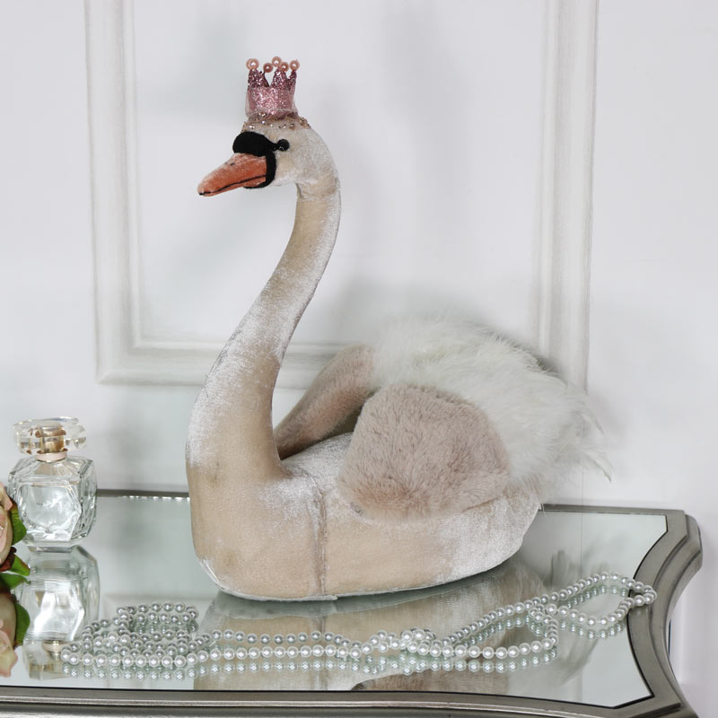 Pink Velvet Swan with Crown
