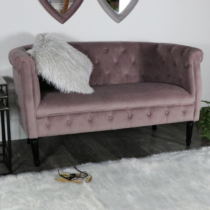 Pink Velvet Upholstered 2 Seater Sofa