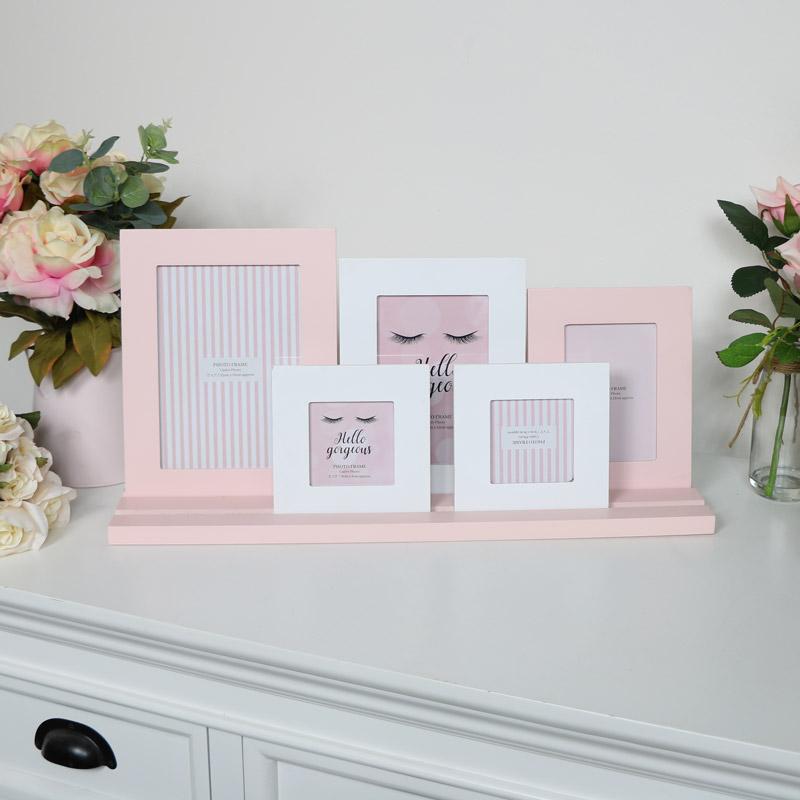 Pink & White Multi Photo Frame