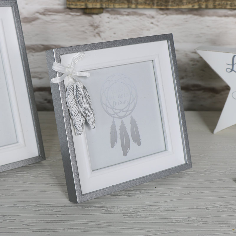 Pretty Silver Square Feather Photograph Frame