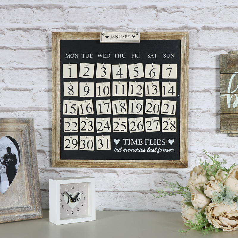 """Time Flies..."" Wall Mounted Heart Calendar"
