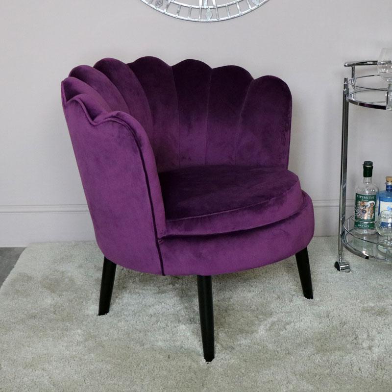 Purple Velvet Accent Chair