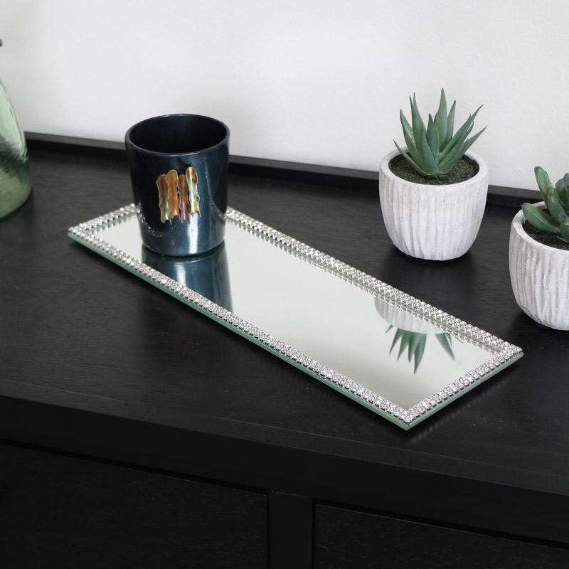 Rectangle Jewelled Mirrored Display Plate Tray