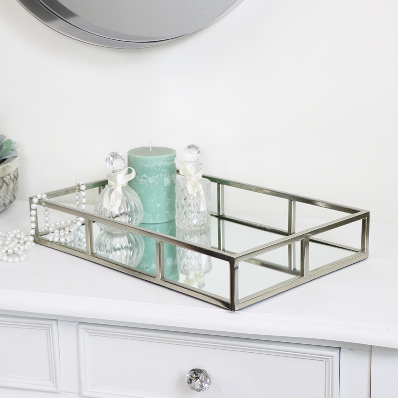 Rectangle Silver Mirrored Tray 40cm x 26cm
