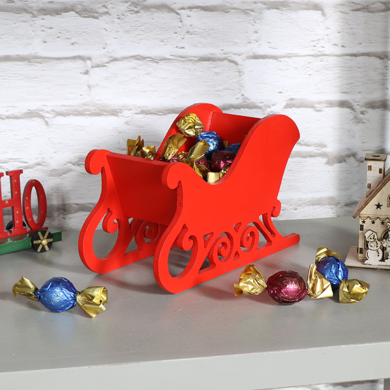 red wooden sleigh christmas decoration shabby vintage chic sweets storage xmas