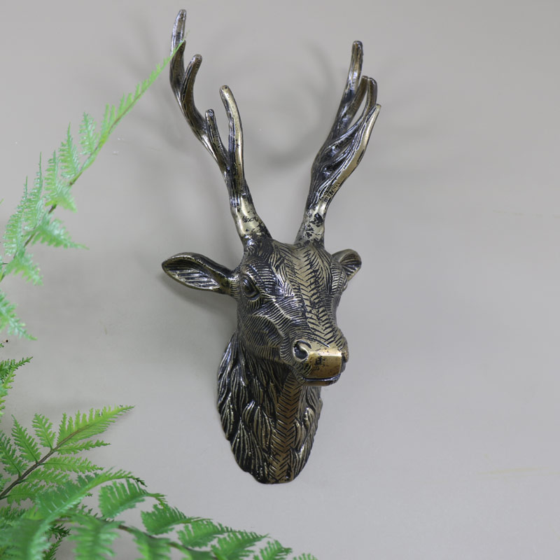 Antique Gold Metal Wall Mounted Stag Head