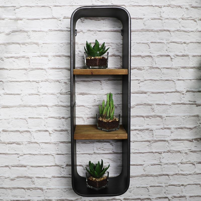 Retro Industrial Style Triple Wall Shelf Unit