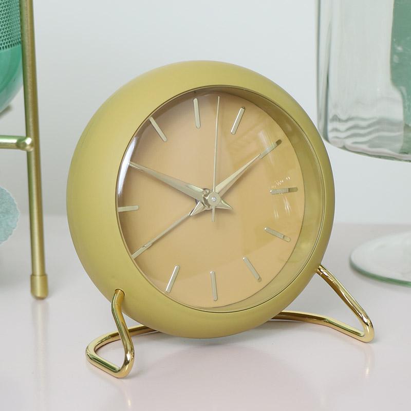 Retro Mustard Yellow Desk Alarm Clock