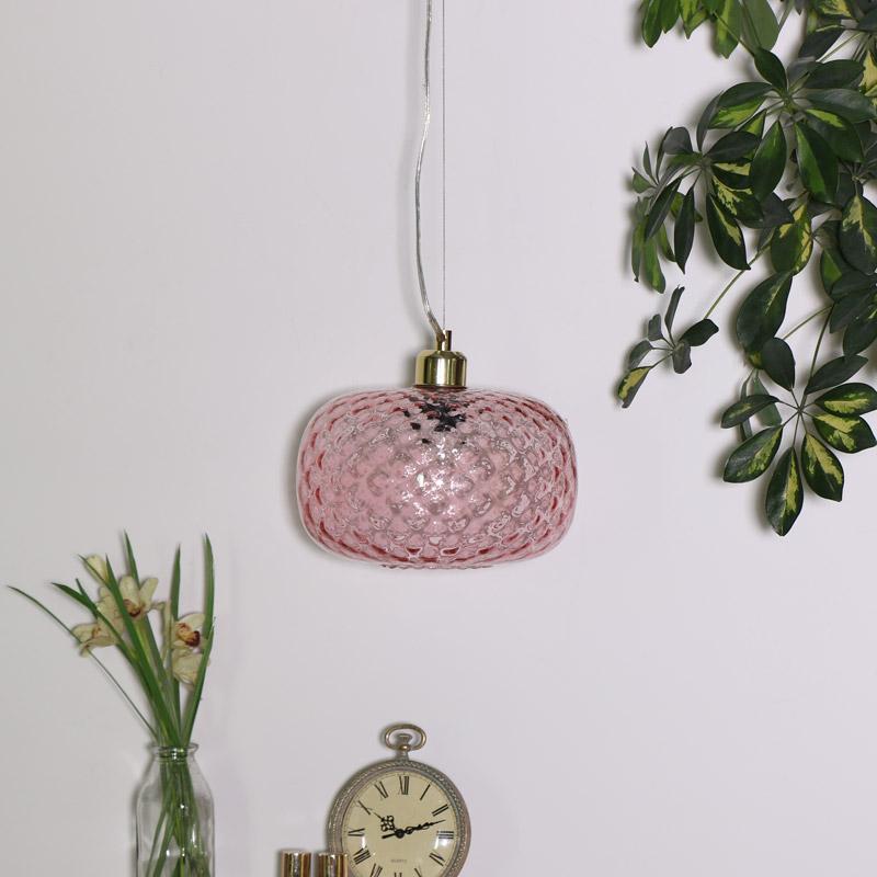 Rose Glass Oval Pendant Light