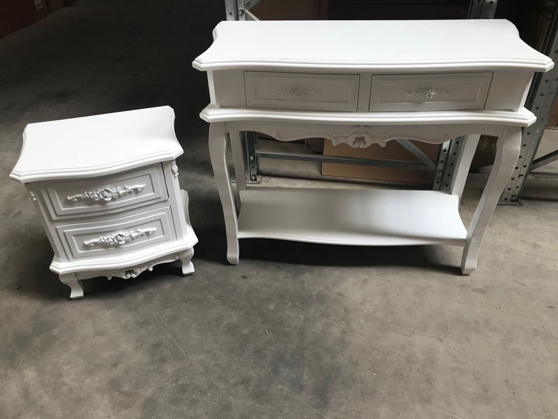 Rose Rage - White Two Drawer Console Table and Two Drawer Bedside - SAMPLE 3027