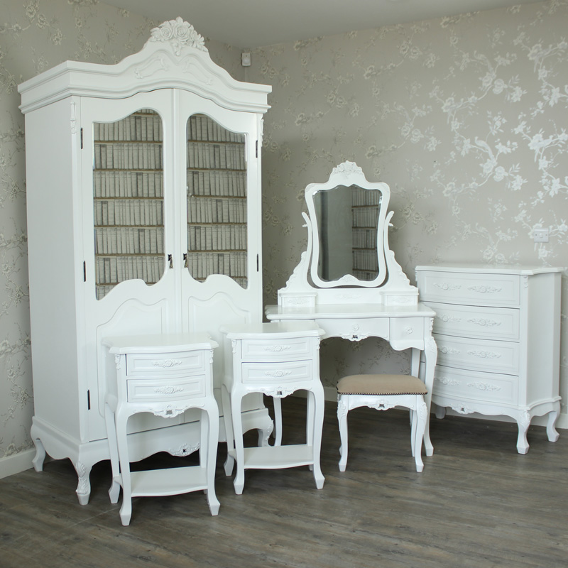 White Bedroom Furniture, Wardrobe, Dressing Table Set, Chest of Drawers & Pair of Bedside Tables - Rose Range