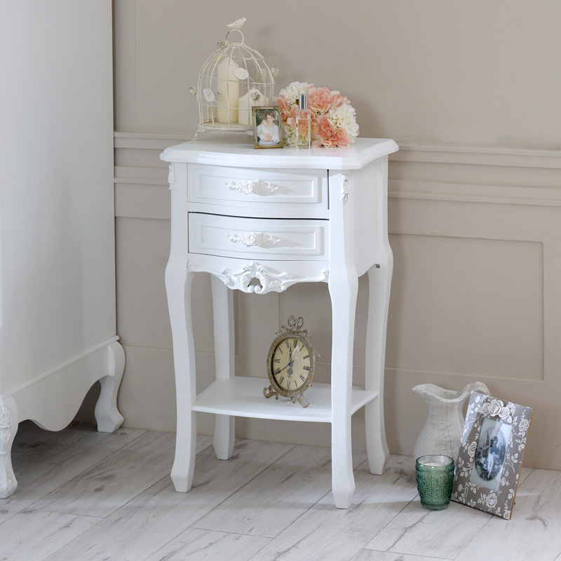 White 2 Drawer Bedside Table - Rose Range
