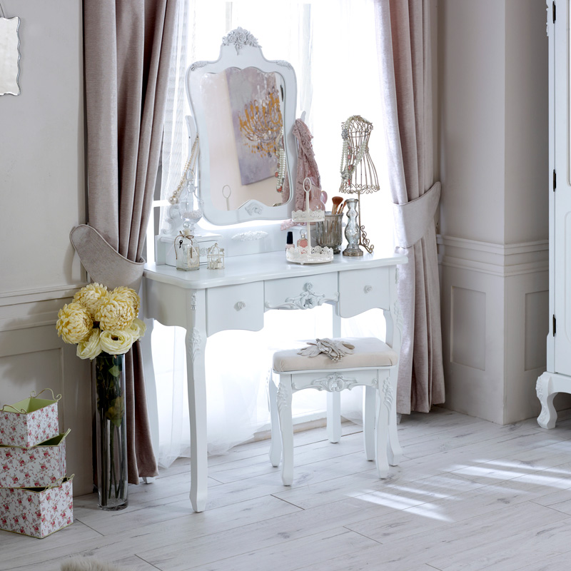 White Dressing Table Set With Mirror & Stool - Rose Range