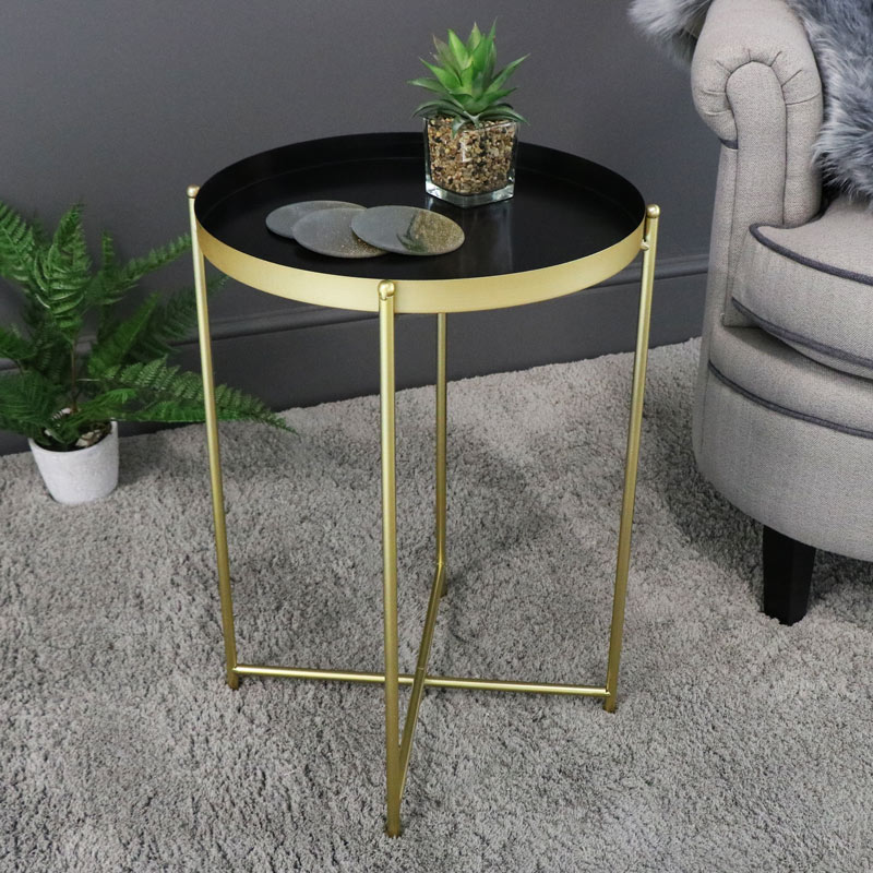 Round Black & Gold Folding Metal Occasional Table
