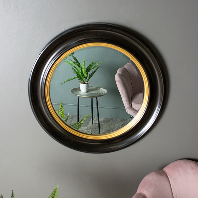 Round Black & Gold Wall Mirror 65cm x 65cm