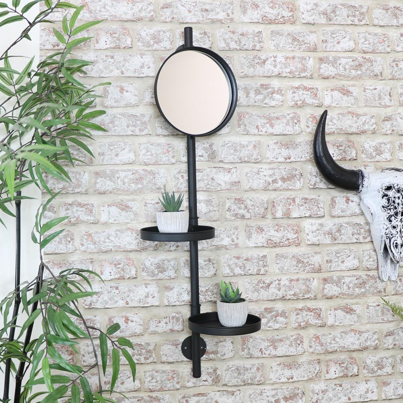 Round Black Metal Wall Mirror with Utility Shelves