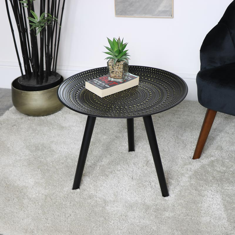 Round Black Side Table