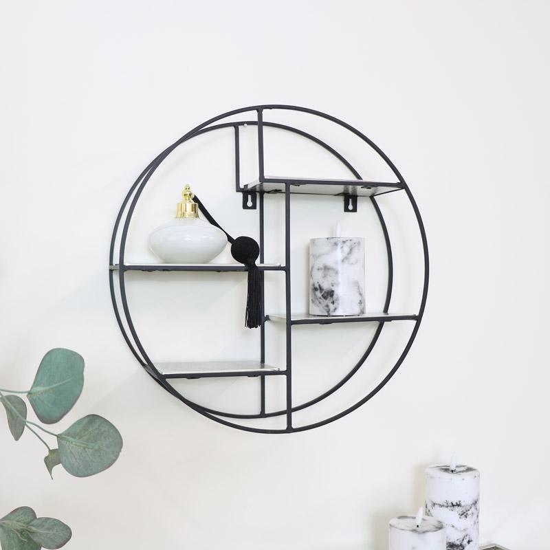 Round Black & Silver Wall Shelf