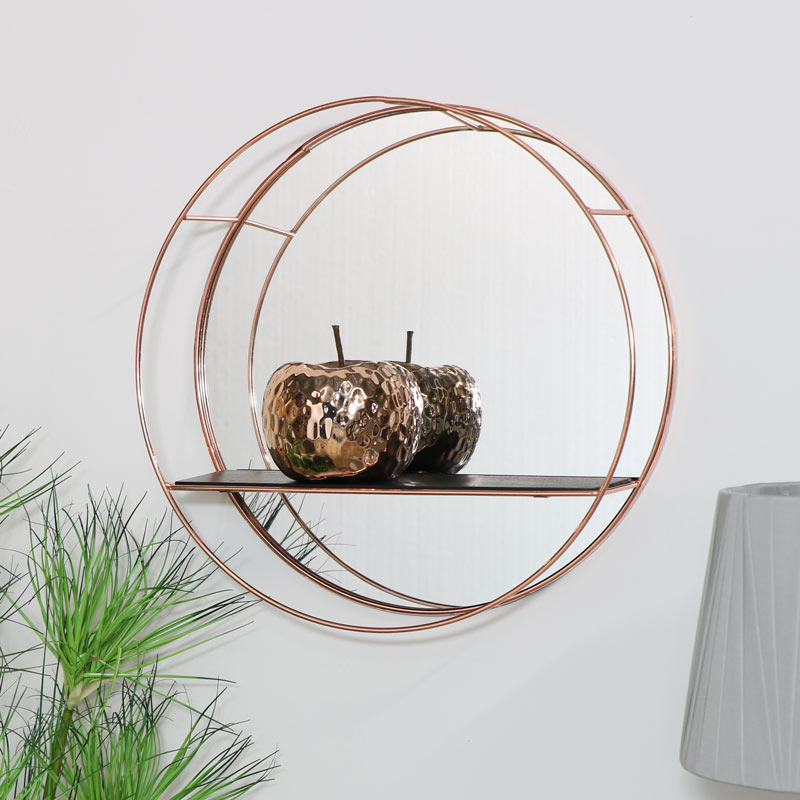 Round Copper Wall Shelf with Mirror