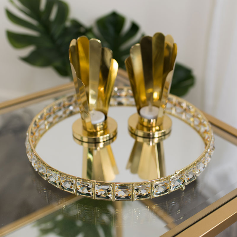 Round Gold Mirrored Jewel Display Tray