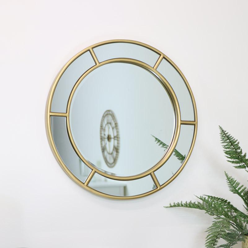 Round Gold Window Mirror 50cm x 50cm