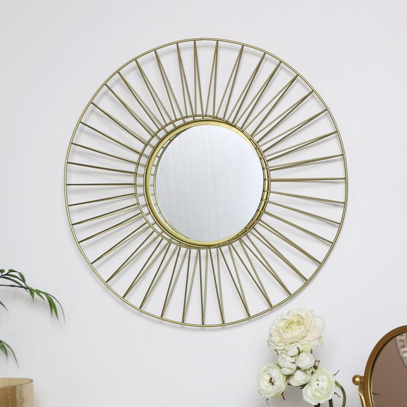 Round Gold Wire Wall Mirror