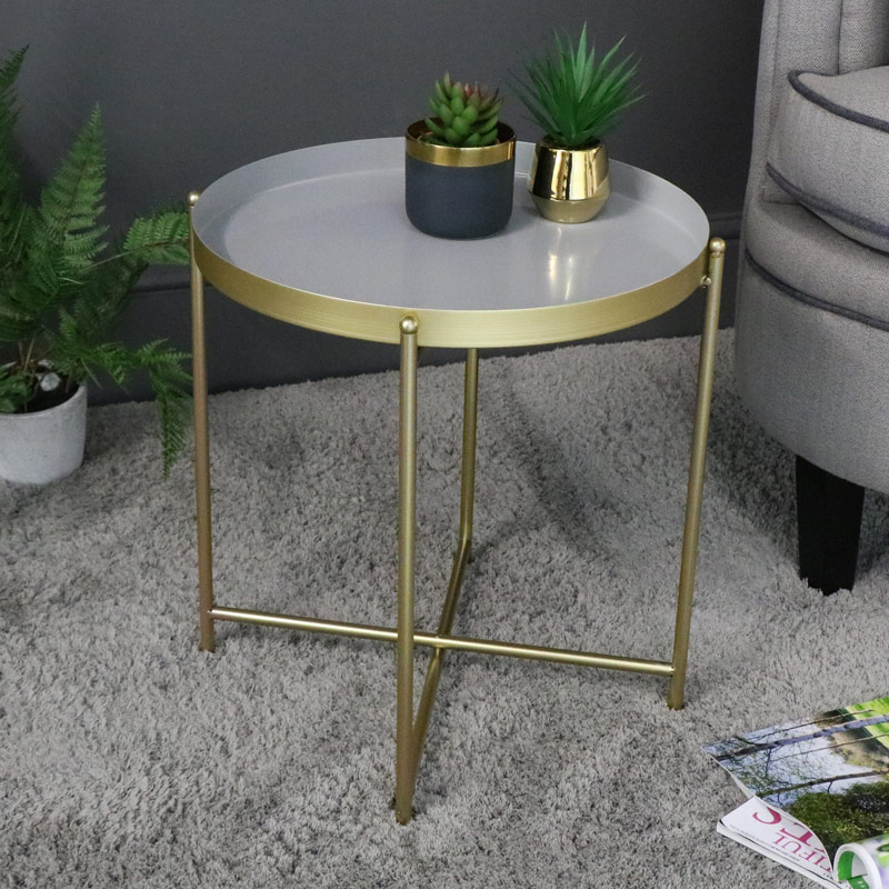 Round Grey & Gold Tray Table