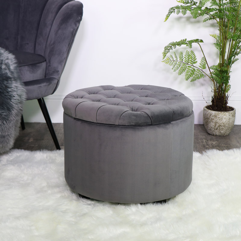 Round Grey Velvet Storage Stool/Pouffe