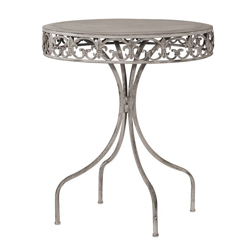 Round Grey Washed Metal Garden Table