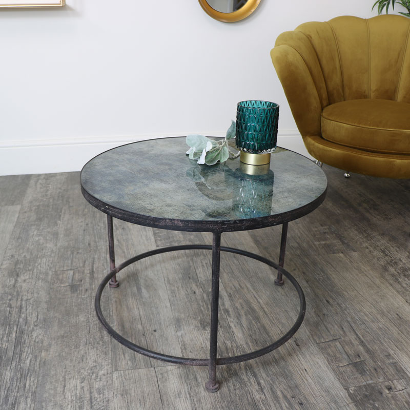 Round Metal Blue Marble Glass Topped Coffee Table