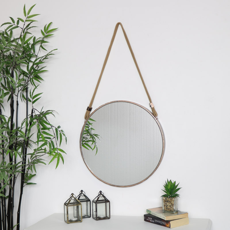 Round Mirror with Rope Hanger 47cm x 47cm