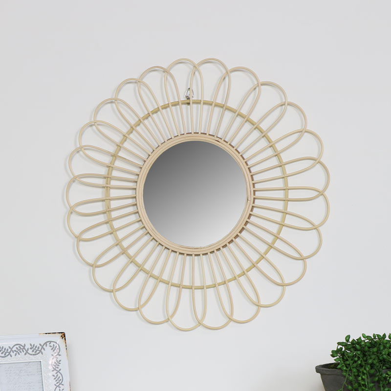 Round Natural Rattan Flower Wall Mirror