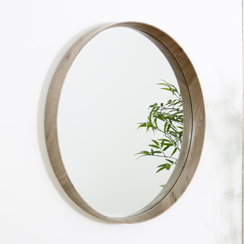 Round Natural Wood Framed Wall Mirror