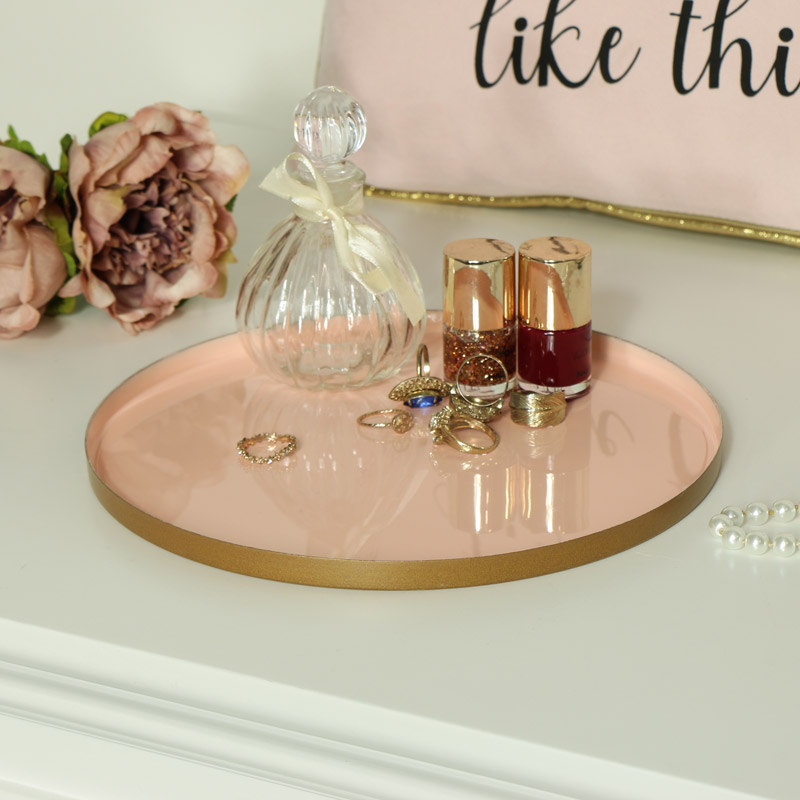 Round Pink Metal Display Tray