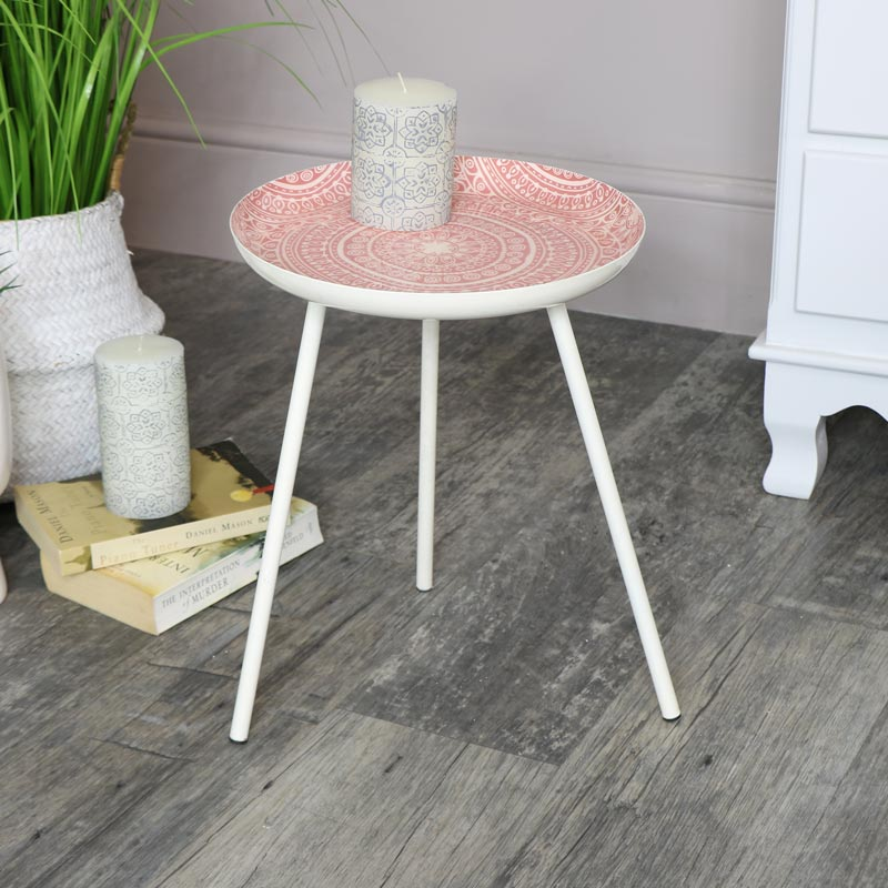 quality design 3c87e f3ae1 Details about Round pink side table boho chic accent furniture home decor  living room